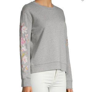 Driftwood Teddy Floral Embroidery Sweatshirt